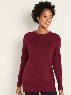 Maternity Hidden-Zipper Nursing Tunic Sweater