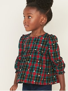 Ruffle-Trim Plaid Swing Top for Toddler Girls