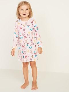 Patterned Sleep Dress for Toddler Girls