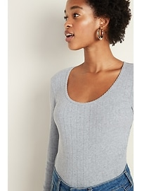 Slim-Fit Scoop-Neck Pointelle Tee for Women
