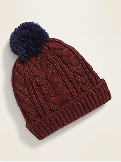 Sherpa-Lined Cable-Knit Beanie for Boy