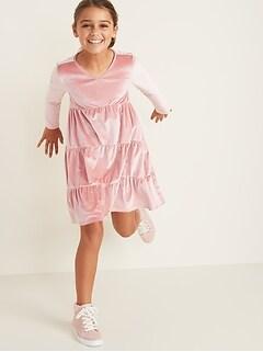 Tiered Velvet Dress for Girls