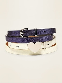 Skinny Faux-Leather Belt 2-Pack for Girls