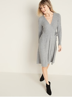 Fit & Flare Wrap-Front Rib-Knit Dress for Women