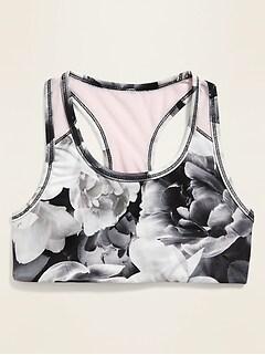 Go-Dry Mesh-Racerback Floral Sports Bra for Girls
