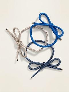 Bow-Tie Elastic Hair Tie 3-Pack for Women