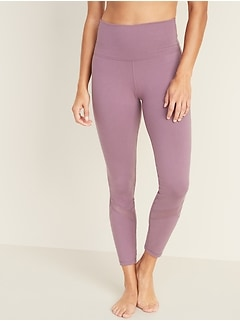 High-Waisted Balance Mesh-Trim 7/8-Length Leggings For Women