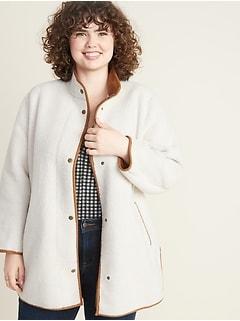 Plus-Size Snap-Front Long Sherpa Coat