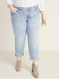 Mid-Rise Plus-Size Boyfriend Straight Jeans
