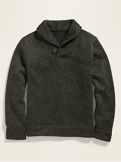 Fleece-Knit Shawl-Collar Pullover for Boys