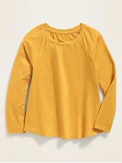 Jersey-Knit Raglan-Sleeve A-Line Top for Girls