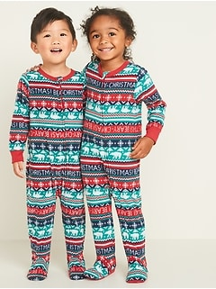 Micro Performance Fleece Fair Isle Footie Pajama One-Piece for Toddler & Baby