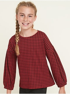Printed Balloon-Sleeve Top for Girls