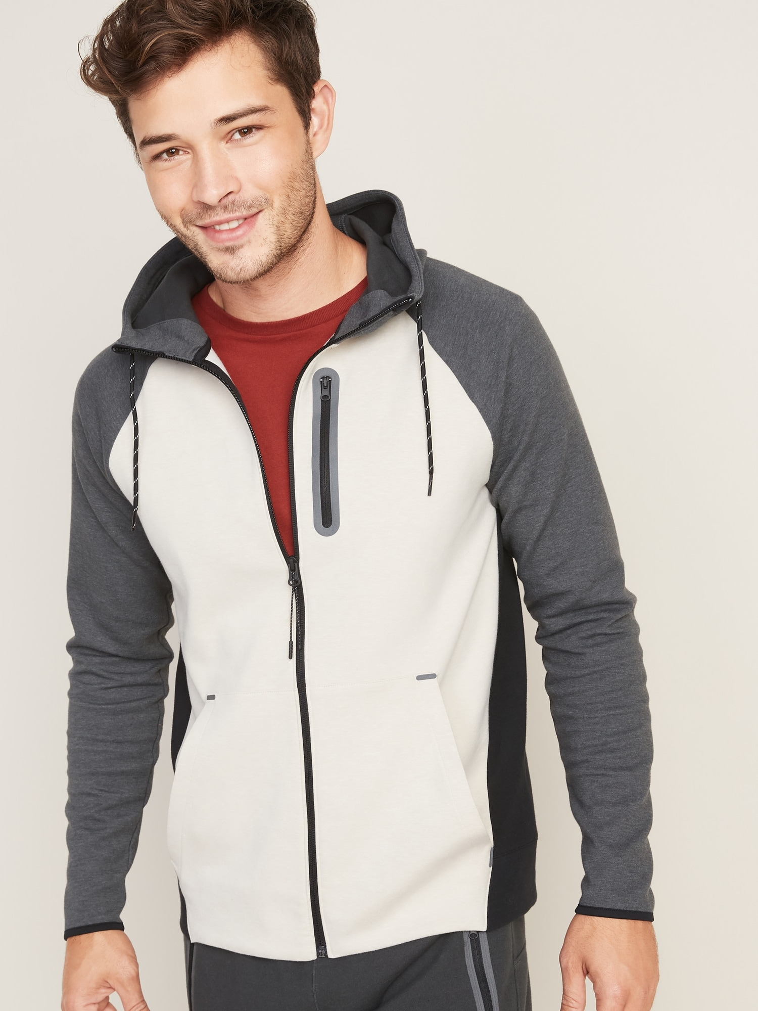Dynamic Fleece Color Blocked Zip Hoodie For Men by Old Navy