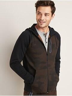 Dynamic Fleece Color-Block Zip Hoodie for Men