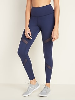 High-Waisted Elevate Mesh-Trim Compression Leggings for Women
