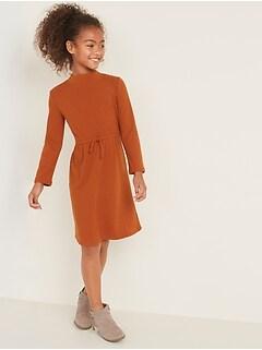 Waist-Defined Mock-Neck Rib-Knit Dress for Girls