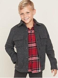 Soft-Brushed Shirt Jacket for Boys