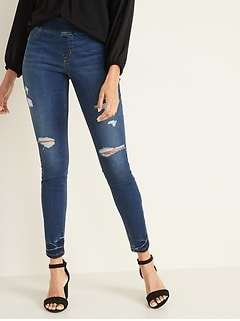 Mid-Rise Distressed Rockstar Super Skinny Jeggings for Women