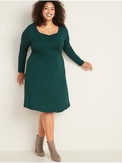Fit & Flare Plus-Size Ponte-Knit Dress