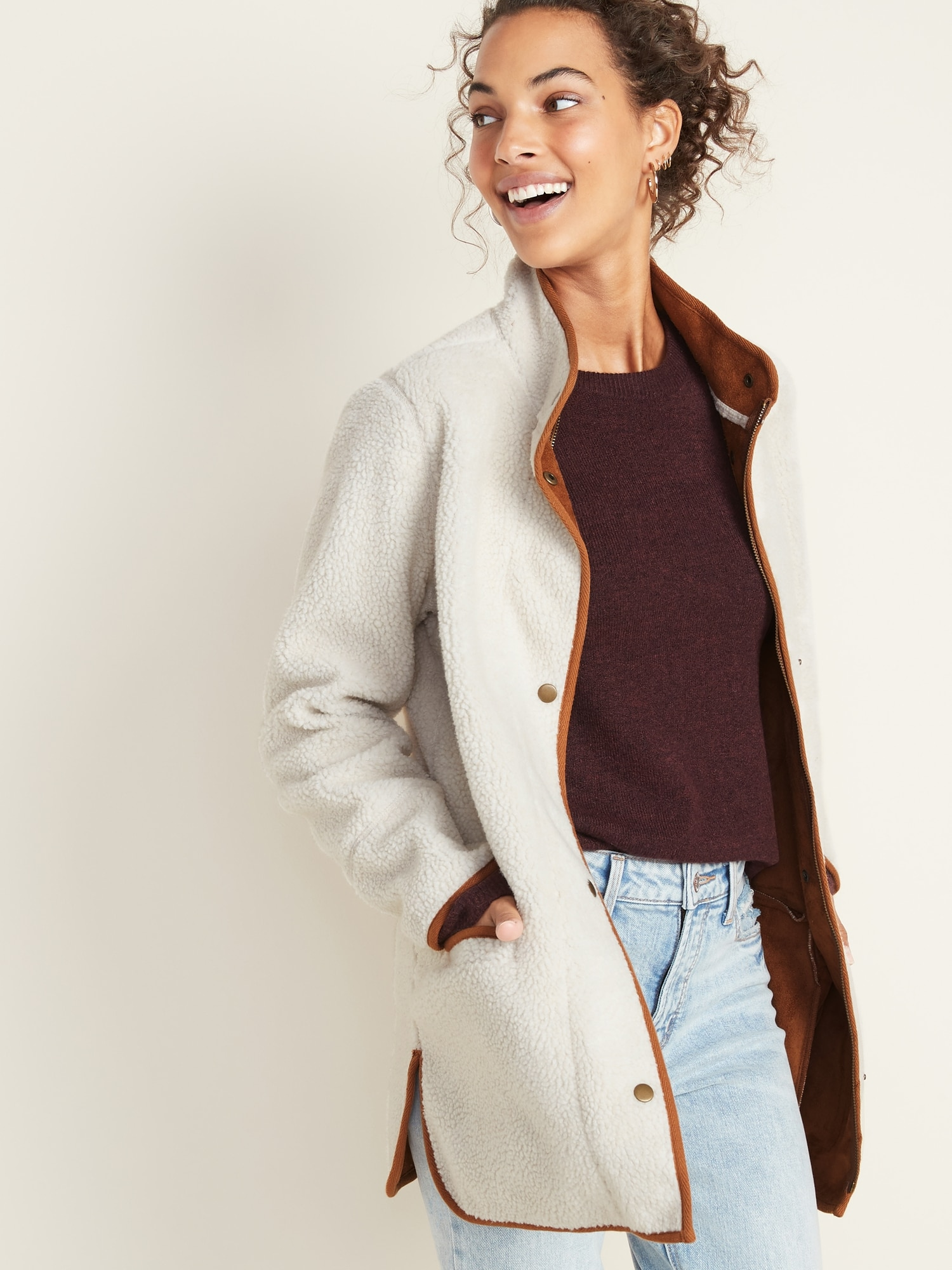 Sherpa Coat For Women by Old Navy