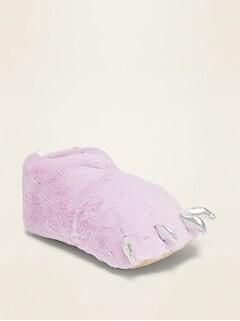 Faux-Fur Monster Slippers for Girls