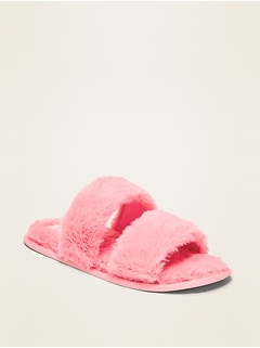 Faux-Fur Double-Strap Slippers for Girls
