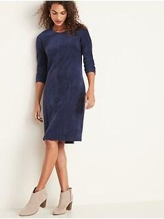 Semi-Fitted Rib-Knit Midi Dress for Women