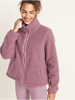 Loose-Fit Sherpa Zip Jacket for Women