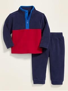 Micro Performance Fleece 1/4-Zip Top & Pants Set for Baby