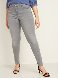 Mid-Rise Gray-Wash Rockstar Super Skinny Jeans for Women