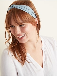 Knotted Chambray Head Wrap For Women