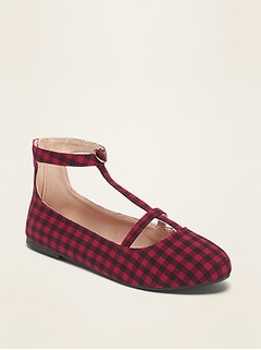 Checked Twill T-Strap Ballet Flats for Girls