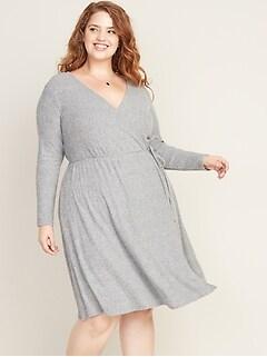 Wrap-Front Plus-Size Rib-Knit Dress