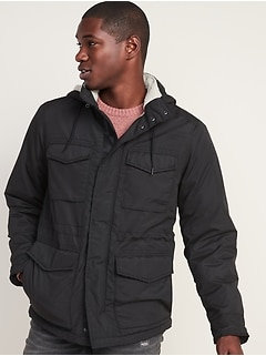 Water-Resistant Sherpa-Lined Detachable-Hood Utility Jacket for Men