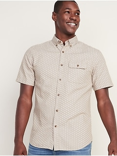 Slim-Fit Patterned Twill Shirt for Men