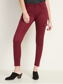 Mid-Rise Sateen Rockstar Super Skinny Cargo Pants for Women
