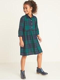 Waist-Defined Plaid Flannel Shirt Dress for Girls