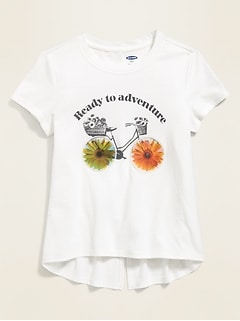 Visual-Effects Graphic Split-Back Tee for Girls