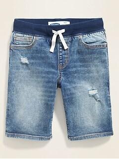 Karate Rib-Knit Waist Distressed Built-In Flex Max Jean Shorts for Boys