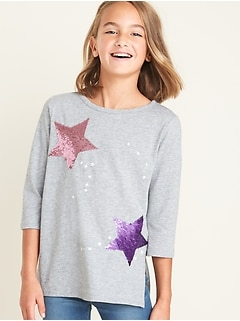 Flippy-Sequin-Graphic Tee for Girls