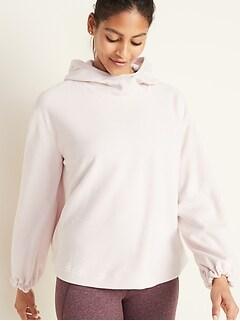 Go-Warm Micro Performance Fleece Pleated-Back Swing Hoodie for Women