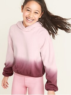 Dip-Dye Cinched-Hem Pullover Hoodie for Girls