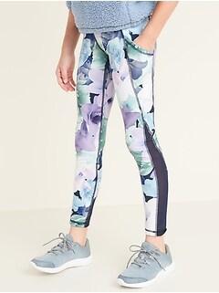 Elevate Mesh-Trim Side-Pocket Floral Compression Leggings for Girls