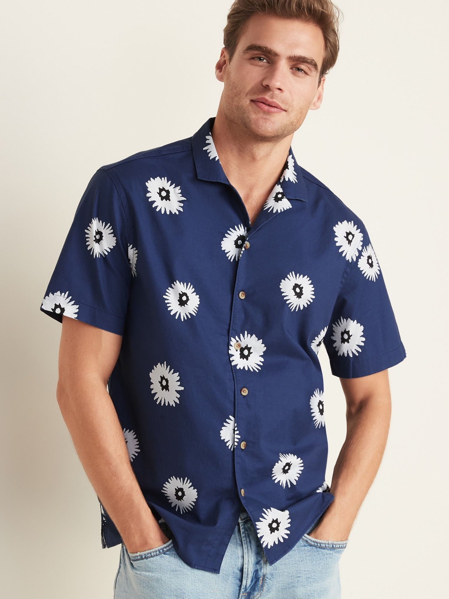 Regular Fit Built In Flex Printed Getaway Shirt For Men by Old Navy