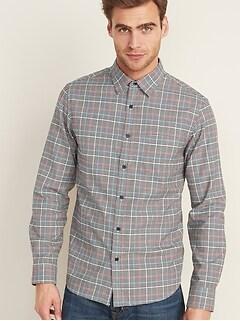 Regular-Fit Textured-Pattern Long-Sleeve Shirt for Men