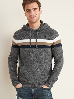 Multi-Color Chest Stripe Sweater Hoodie for Men