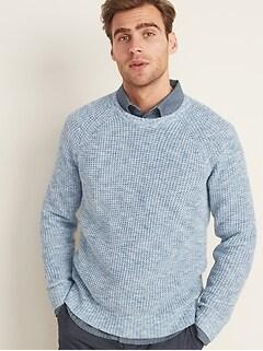 Textured Raglan-Sleeve Crew-Neck Sweater for Men