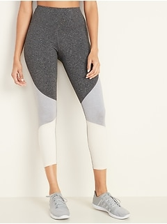 High-Waisted Elevate 7/8-Length Color-Block Leggings for Women
