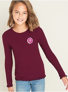Rib-Knit Patch-Graphic Lettuce-Edge Tee for Girls
